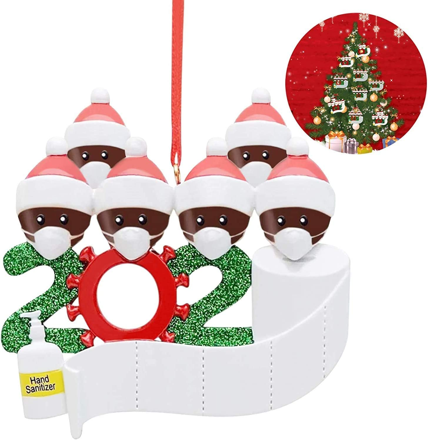Family of 2 Personalized Family 2-7 Names Christmas Tree Decorations with Face Mask Christmas Ornaments 2020 Decorative Hanging Ornaments Hand Sanitizer and Toilet Paper