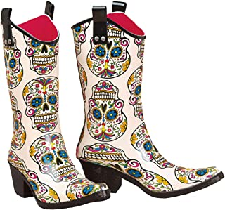 Ladies Roxy Sugar Skull Snip Toe Rain Boot