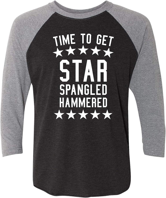 zerogravitee Time to Get Star Spangled Unisex 3//4 Sleeve Baseball Raglan Tee