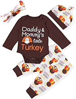 Aslaylme Thanksgiving Baby Outfit Newborn My First Turkey Day Pants Clothing Set