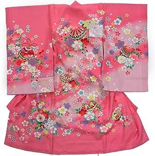 祝着 正絹一つ身着物 女児用 花柄 ピンク のしめ お宮参り 産着 日本製