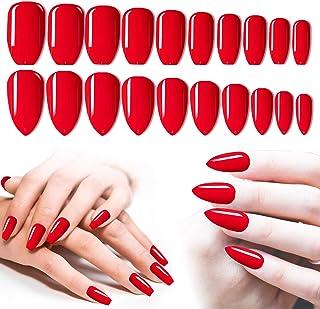 Red Press On Nails, 200PCS Cosics Glossy Colored Press Nails Coffin Ballerina & Almond Shaped Fake Nails Medium Length, Fu...