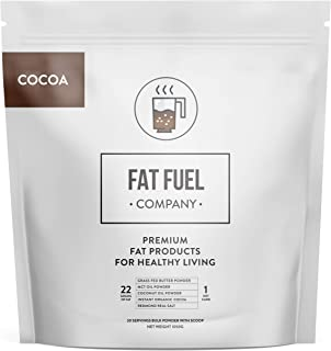 The Fat Fuel Company Organic Instant Keto Cocoa Hot Chocolate Drink Mix with MCT Oil, Coconut Oil, Grass-Fed Butter Powder...