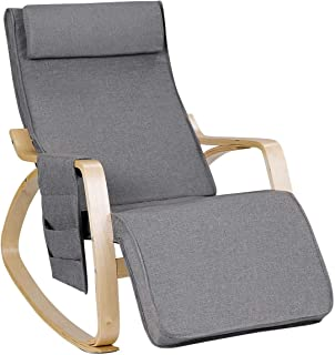 Relax Adjustable Lounge Rocking Chair with Pillow & Pocket Comfortable Armrest Backrest Adjustable Footrest