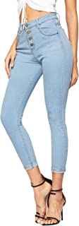SheIn Women's Button Front Mid Waist Stretchy Skinny Denim Jeans With Pocket