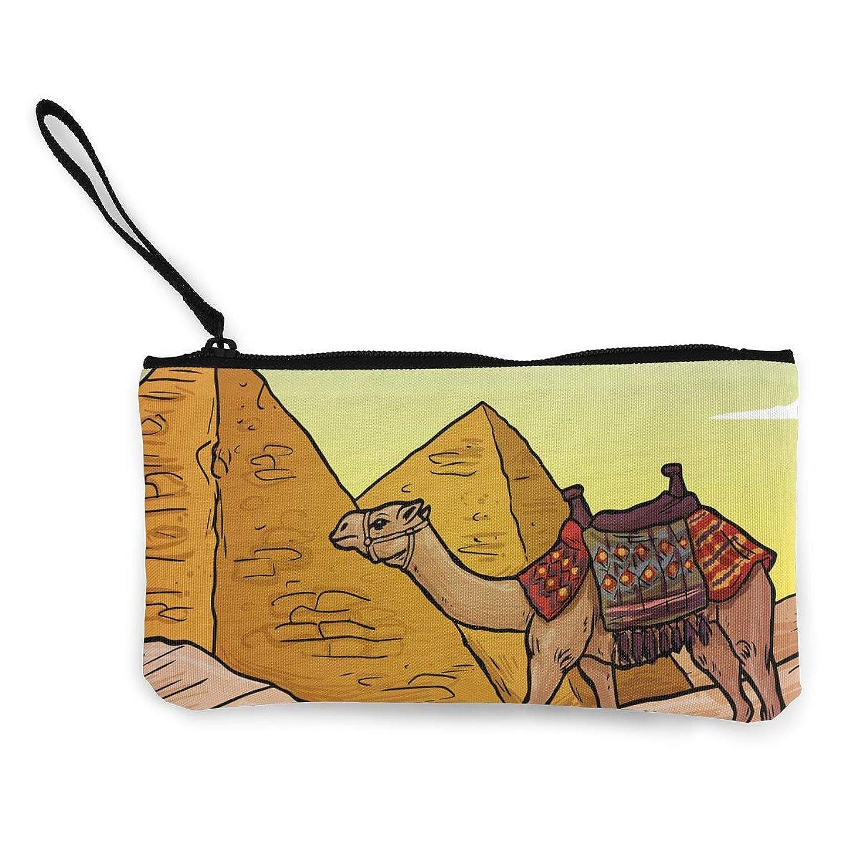 ツイン年変換ErmiCo レディース 小銭入れ キャンバス財布 山と駱駝 小遣い財布 財布 鍵 小物 充電器 収納 長財布 ファスナー付き 22×12cm