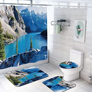 Nature 69x84 inch Shower Curtain Sets,Moraine Lake Banff National Park Canada Mountains Pines Valley of The Ten Peaks Toilet Pad Cover Bath Mat Shower Curtain Set 4 pcs Set,Blue Green Grey