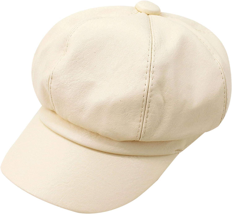 Monique Women Solid Color PU Leather Newsboy Cap Cabbie Painter Hat Visor Beret