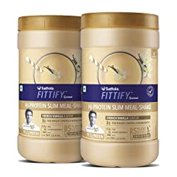 Saffola FITTIFY Hi Protein Slim Meal-Shake, Meal Replacement with 5 superfoods, French Vanilla, 420