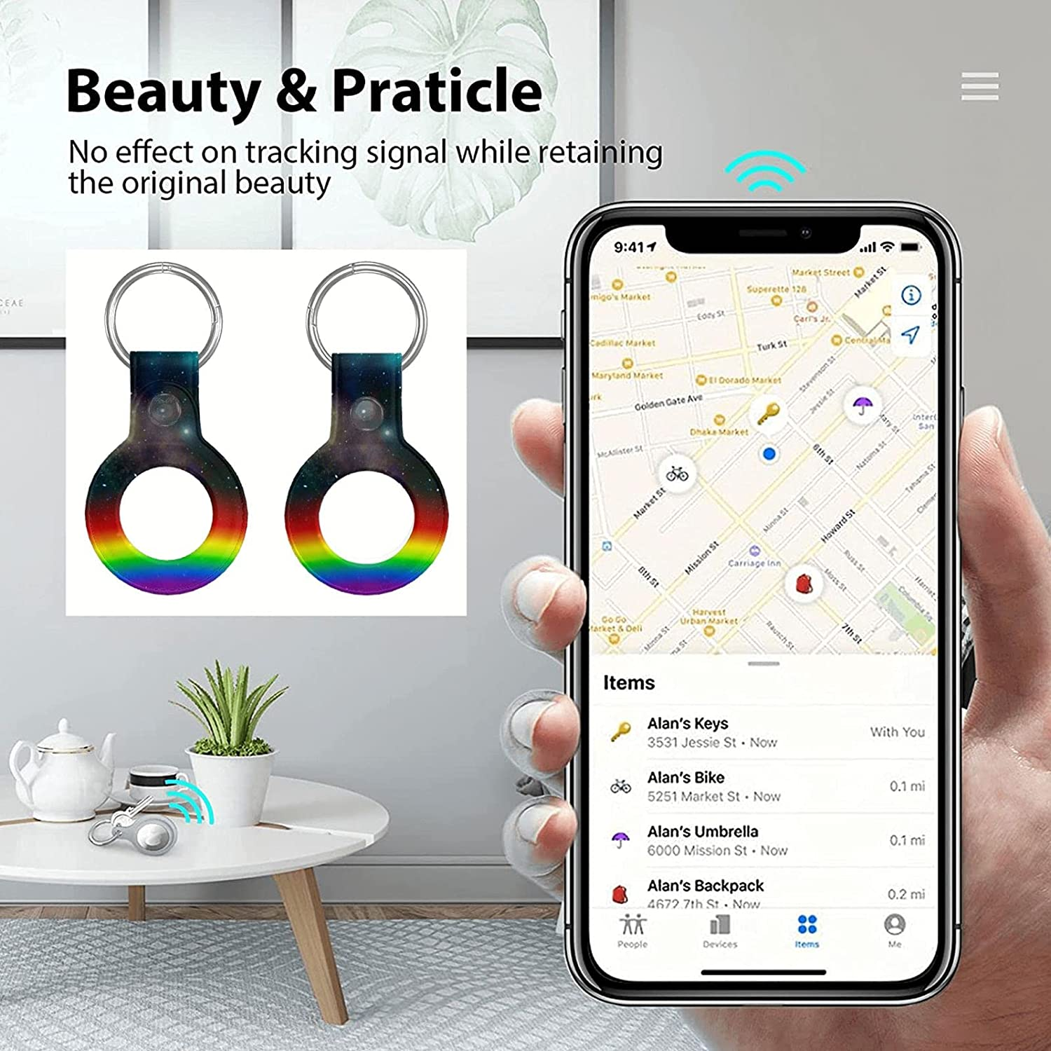 Fulonngco Printed Microfiber Pu Leather Apple Air Tag Finder Anti-Scratch Belt Keychain Anti-Lost Double Hole