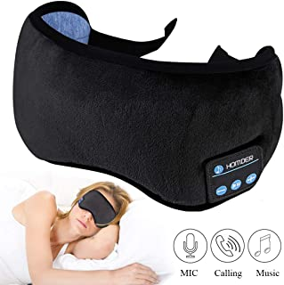 Homder Sleep Headphones Bluetooth 5.0 Eye Mask for Men Women, Noise Cancelling Sleeping Mask Block Light, Soft Comfort with Adjustable Strap for Sleeping, Meditation, Travel, Washable