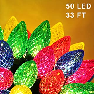 Twinkle Star C9 Christmas String Lights, 50 LED 33ft Outdoor Fairy Lights with 29V Safe Adaptor, Extendable Green Wire String Lights for Patio Xmas Tree Wedding Party Decoration, Multicolor