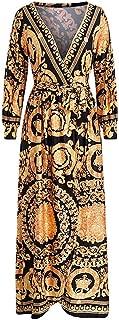 Vintage Split Sexy Boho Dress Women Autumn Print Maxi Dress Long Sleeve Paisley Party Dress Robe
