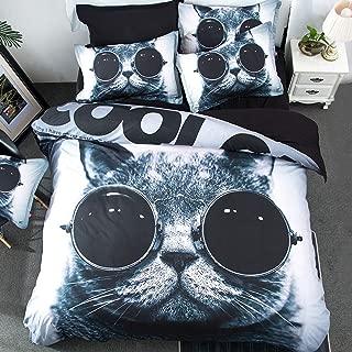 MeMoreCool Fashion Cat with Glasses Duvet Cover Set - 4 Pieces (Full,Black)