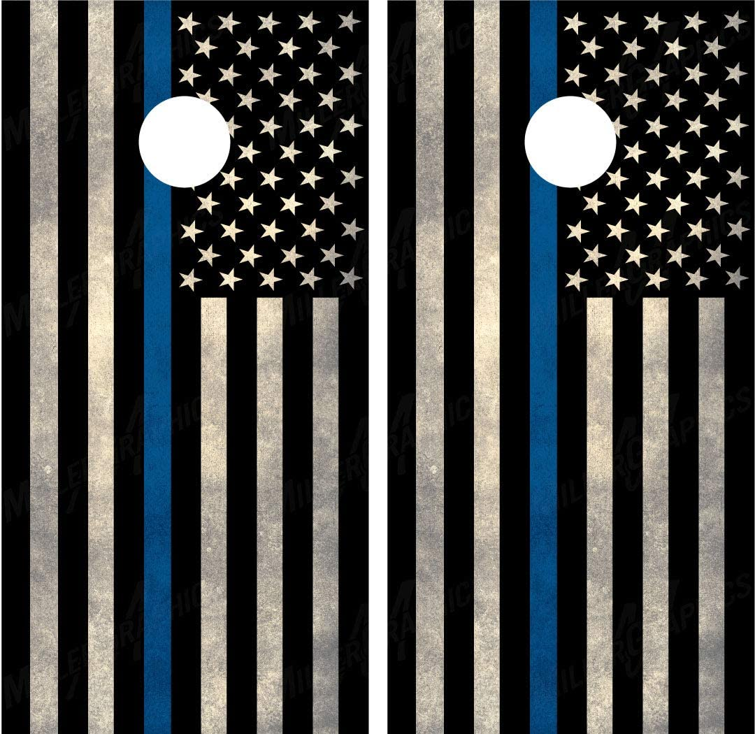 Miller 2021 new Graphics Police Thin Blue American Flag Laminated Co Line Outlet sale feature