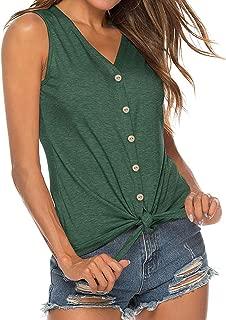 Bloggerlove Women's Tie Knot Shirts Sleeveless/Long Sleeve Casual V Neck T Shirt Tunics Tops Blouses
