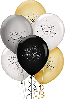 New Year Latex Balloons, 15 Ct.   Assorted Colors   Party Decoration