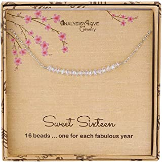 Sweet 16th Birthday Gifts for Girls, Sterling Silver Beaded Necklace for 16 Year Old Girl Jewelry Gift