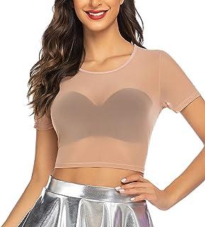 ADOME Crop Top for Women Mesh Tee Shirt Plus Size Sheer Blouse Long/Short Sleeve S-4XL