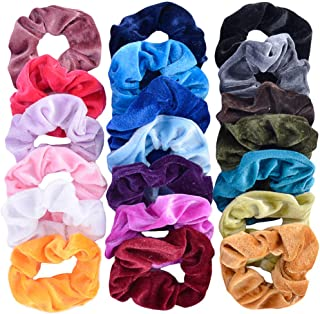 HYCKee 20 Pcs Hair Scrunchies, Velvet Elastic Hair Bands Hair Ties Ponytail Holder Scrunchy Hair Accessories for Girls Women, 20 Assorted Colors Scrunchies