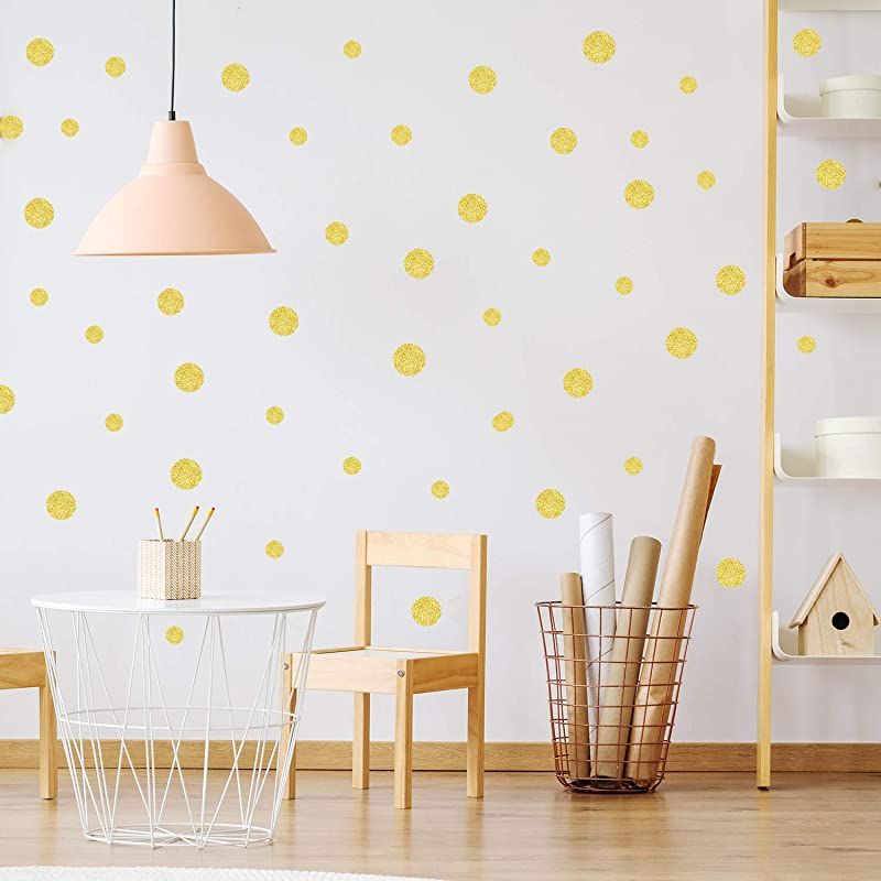 Gold Glitter Wall Decals Polka Dots Stickers Vinyl Round Bling Circle Art Stickers Removable Metallic Sparkling Bedroom Decor Decorations For Nursery Kids Room 205 Gold Glitter Dots