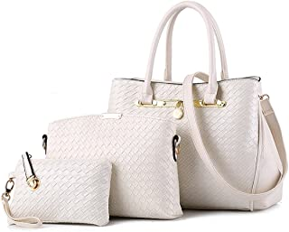 7b602ffed3 TIBES sac à main de mode Femmes cuir PU sacs Set de 3P sac tissé Sac