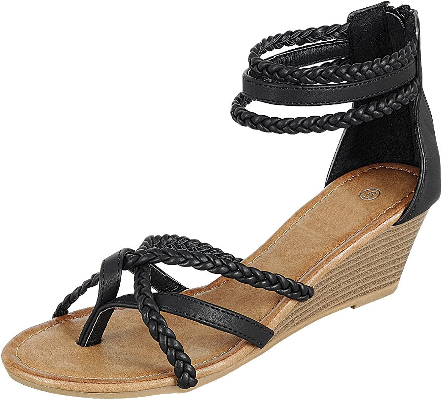 Cambridge Select Women's Back Zip Strappy Crisscross Braided Ankle Thong Toe Wedge Sandal