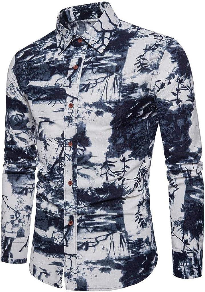Gergeos Men's Fashion Vintage Button Down Shirts Slim Fit Casual Shirts Long Sleeve Shirts for Men