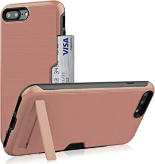 iPhone 8 Plus Case,iPhone 7 Card Case,Yoomer Dual Layer Shockproof Hybrid Impact Armor Defender Cover Silicone Rubber Skin Hard Back Case with Kickstand &Card Slot Holder for iPhone 8 Plus/7 Plus 5.5