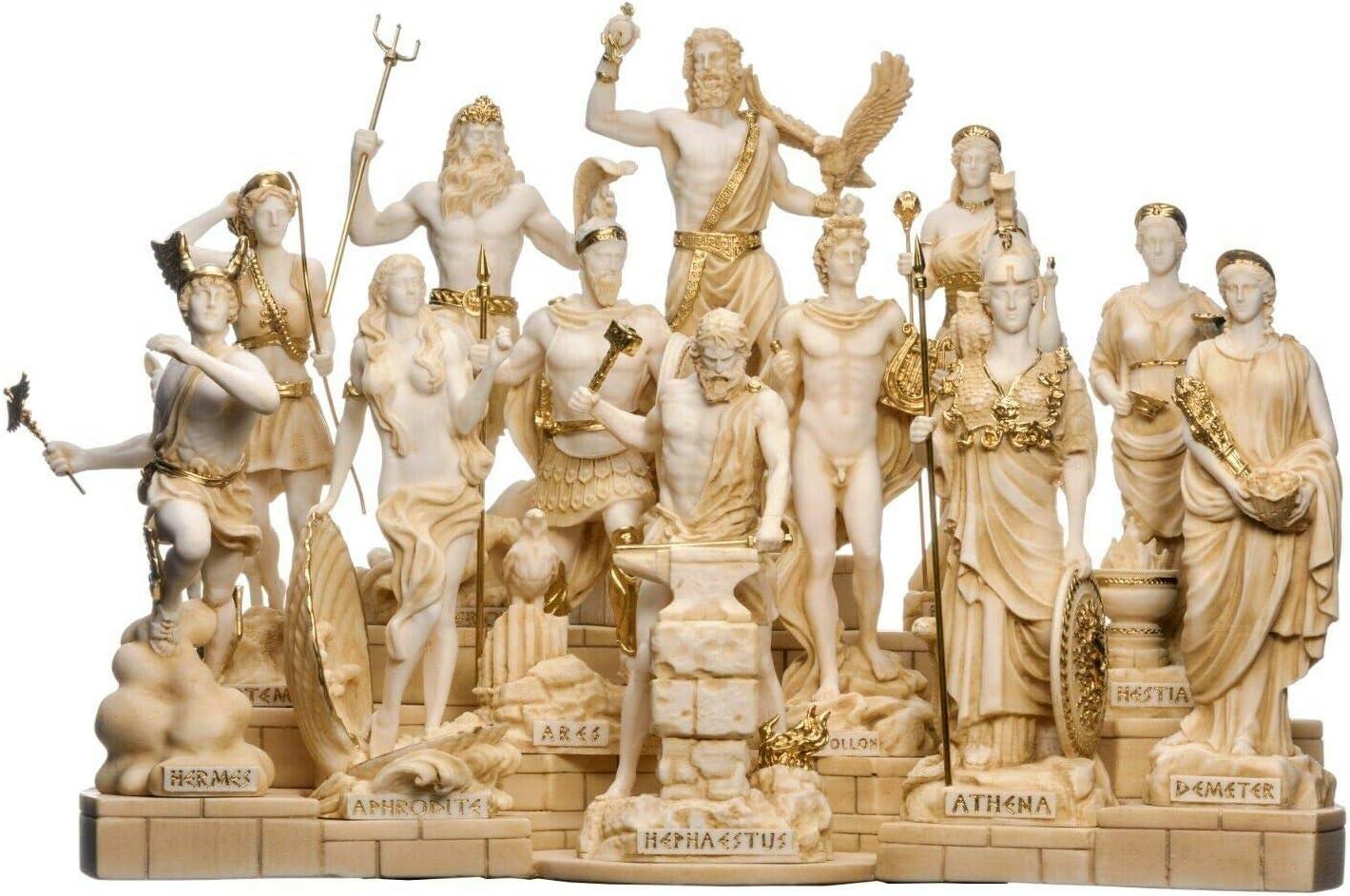 Amazon Com Set 12 Olympian Gods Of Mount Olympus Pantheon Gold Tone Alabaster Large Statues Home Kitchen
