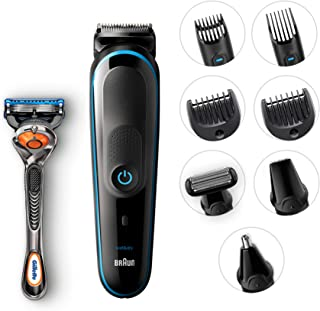 Braun All-In-One Trimmer Mgk5080 Beard Trimmer & Hair Clipper, Body Groomer, Ear & Nose Hair Trimmer, Detail Trimmer Attachment, Black/Blue