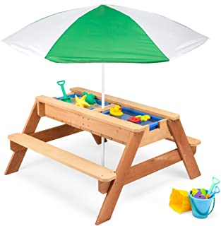 Best Choice Products Kids 3-in-1 Sand & Water Activity Table, Wood Outdoor Convertible Picnic Table w/ Umbrella, 2 Play Bo...