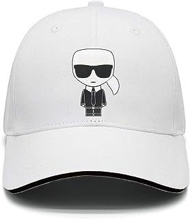 قبعة بيسبول كارل لاغرفيلد للرجال والنساء باللون الاسود، قبعة قطنية كلاسيكية سادة بجوانب قصيرة وحافة منحنية