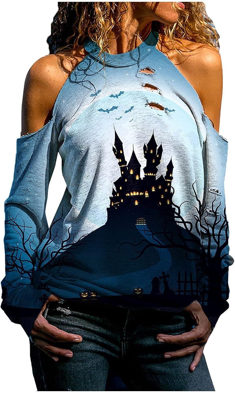 wodceeke Halloween Halter Strapless Blouse, Womens Casual Pumpkin Print Plus Size Hollow Long Sleeve Tops for Women