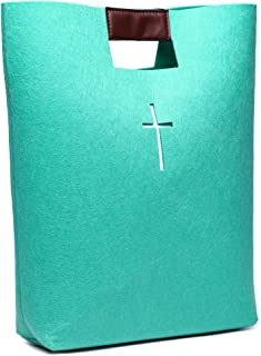 Bible Carrying Case Bible Tote Bag Bible Cover for Men and Women Bible Study Case Green