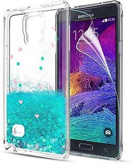 LeYi Funda Samsung Galaxy Note 4 Silicona Purpurina Carcasa con HD Protectores de Pantalla,Transparente Cristal Bumper Telefono Gel TPU Fundas Case Cover para Movil Galaxy Note 4 ZX Turquoise