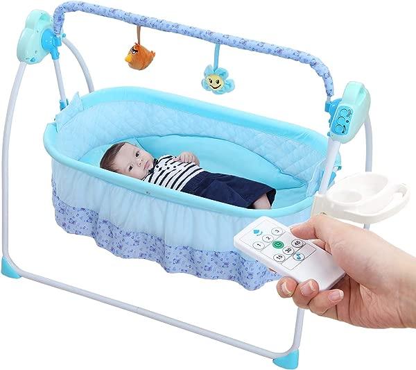 WBPINE 婴儿摇架摇摆自动婴儿摇篮摇摆婴儿床男孩女孩用音乐蓝色