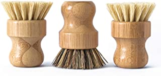 ECOLULU Natural Bamboo Dish Brush Plant Based Bristles | 3 Pack Wooden Dish Brush | Bamboo Scrub Brush for Cleaning Dishes...