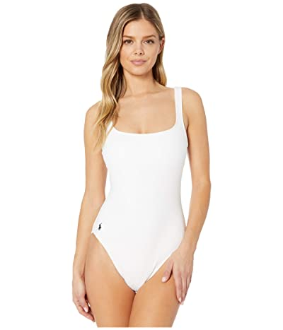 Polo Ralph Lauren Ribbed Modern Martinique Tank One-Piece Swimsuit (White) Women