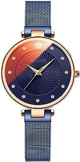 ساعة نسائية نسائية لسيدة أزياء المرأة ساعة اللباس بنات انالوج حركة الكوارتز الصلب حزام رقيقة جدا (اللون: A)