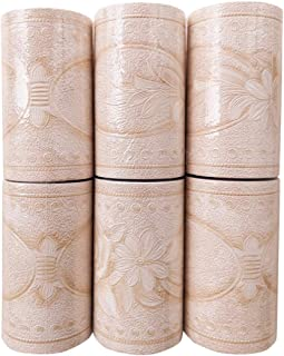 Vintage Peel and Stick Wall Borders Tiles 3D Floral Pattern Waterproof Border Wallpaper Stickers for Kitchen Bathroom - Pink