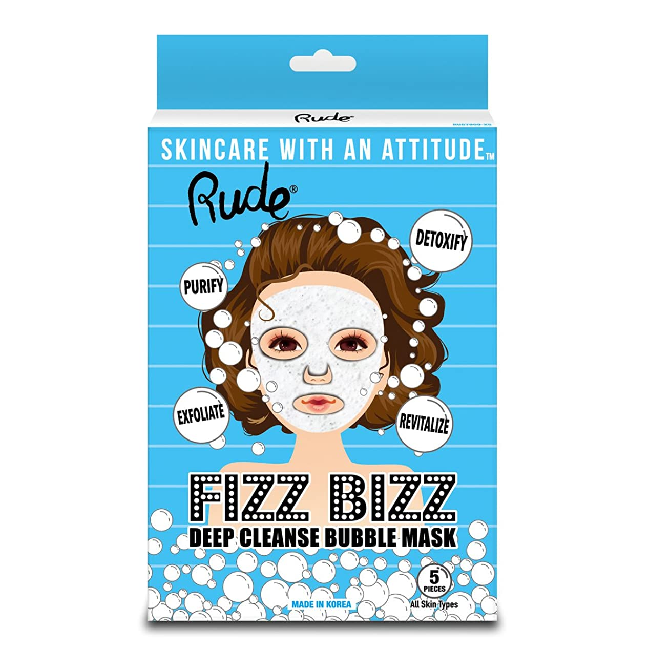 RUDE Fizz Bizz Deep Cleanse Bubble Mask, Pack of 5 (並行輸入品)
