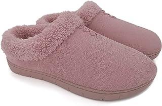 ofoot Pantofole Calde da Donna, Pantofole da Donna con Suola in Gomma con Fondo Rigido per Interni in Memory Foam con Part...