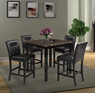 Harper & Bright Designs 5-Piece Kitchen Table Set Brown Faux Marble Top Counter Height Dining Table Set with 4 Black Leather-Upholstered Chairs