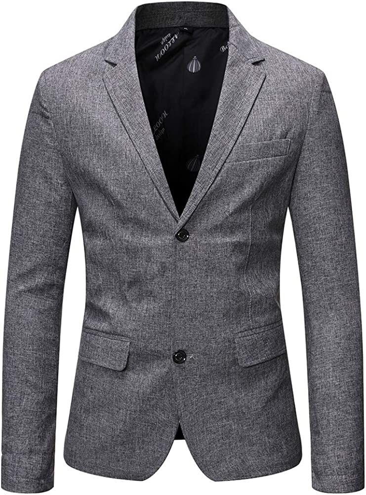 Mens Formal Dress Suit Jacket 2 Button Slim Fit Casual Blazer Sport Coat Tops