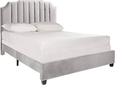 Safavieh Home Streep Modern Grey Velvet Bed, Queen