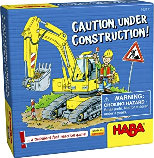 HABA Caution, Under Construction! - A Turbulent Fast Paced Pocket Sized Reaction Game for Ages 5+ (Made in Germany)