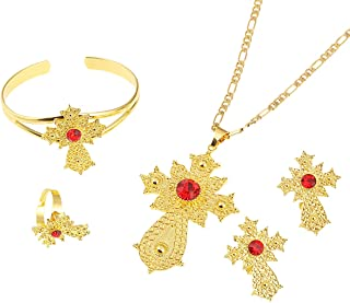 Ethiopian Jewelry Sets Pendant Necklaces Earrings Bangle Ring Habesha Jewelry Eritrean Wedding Gifts