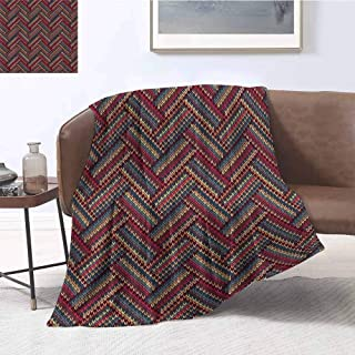 Luoiaax Red and Brown Commercial Grade Printed Blanket Classical Knitting Pattern Image Autumnal Colors Herringbone Zigzag Stripes Queen King W70 x L90 Inch Multicolor