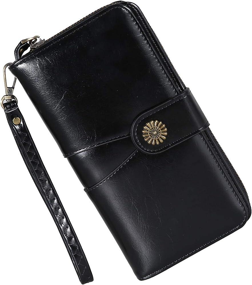 Y yongyuan portafoglio porta carte di credito per donna in ecopelle classico Nero1